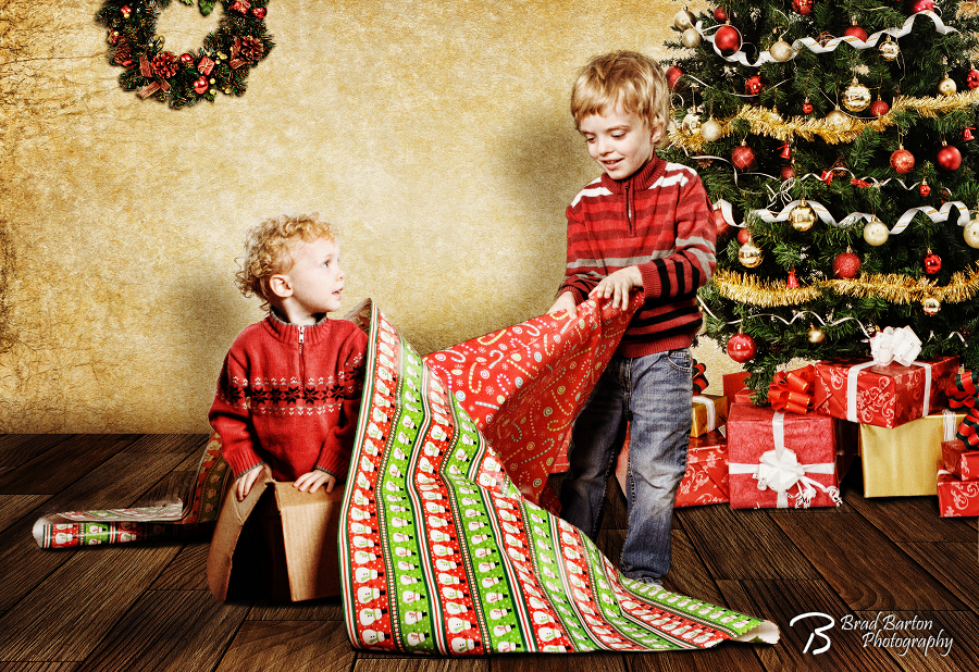 Wrapping a Special Gift - Creative Christmas Portrait Dallas Fort Worth